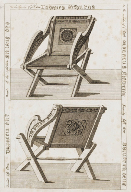 Etchings of a Glastonbury Chair in the Strawberry Hill collection
